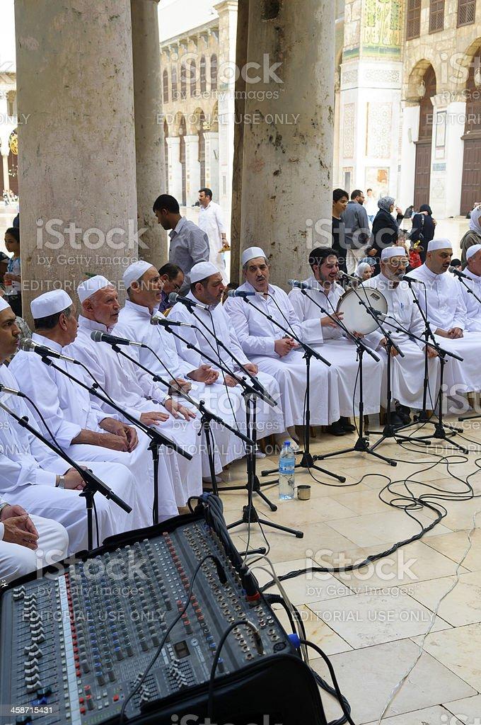 Singing at the Umayyad Mosque in Damascus Syria stock photo