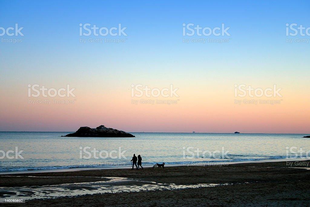 Singing Beach Sunset stock photo