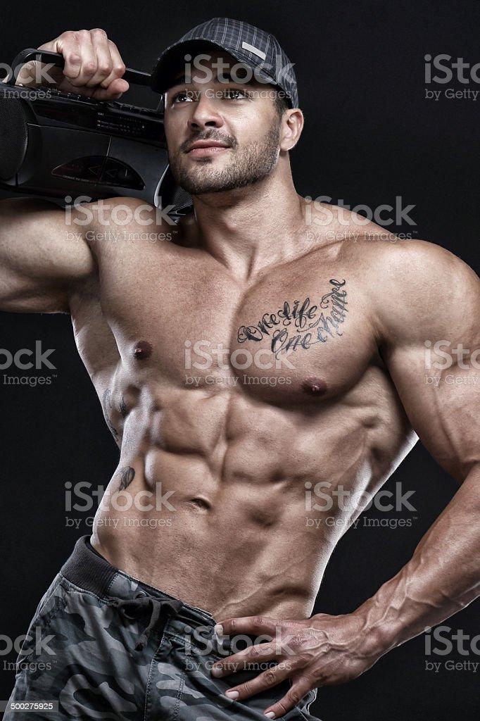 Singing bodybuilder royalty-free stock photo