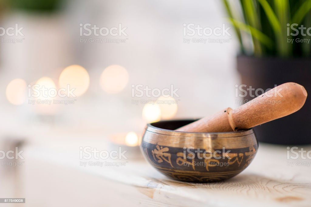 Singing Bowl in Yoga Studio stock photo