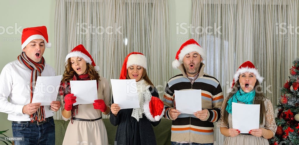 singing carol stock photo