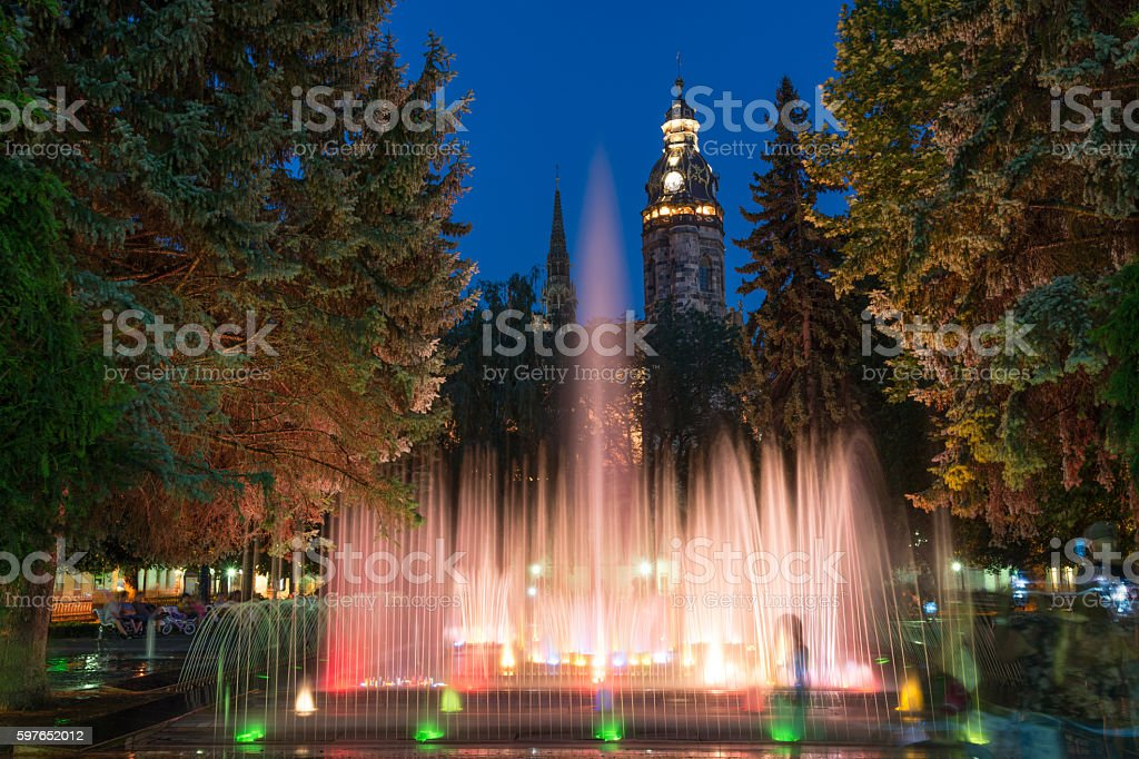 Singing fountains in Kosice stock photo