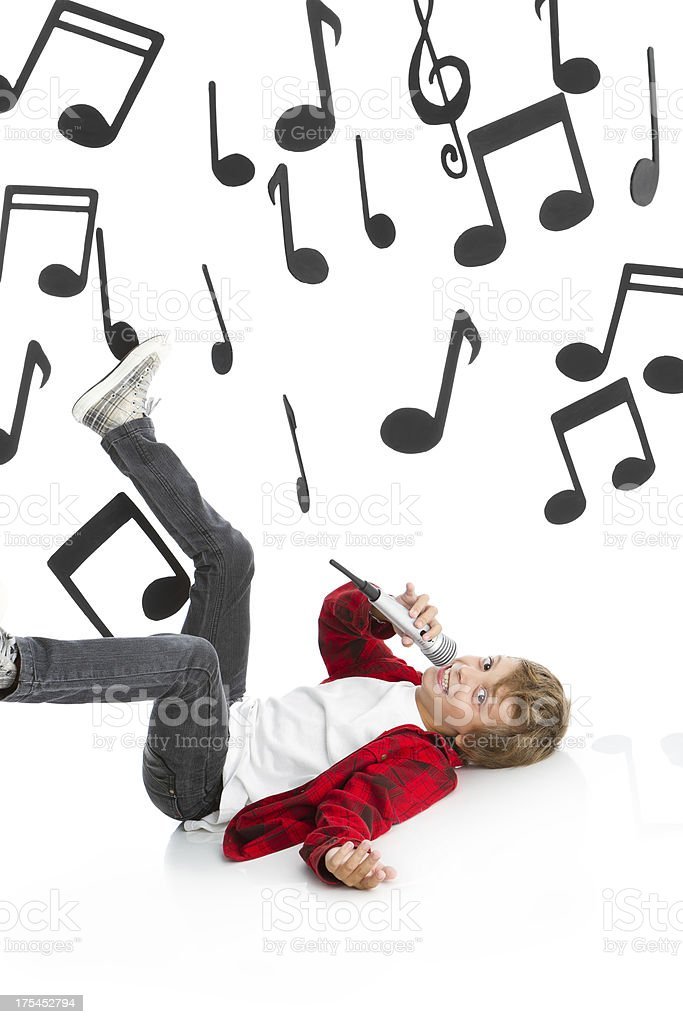 Singing funny boy stock photo