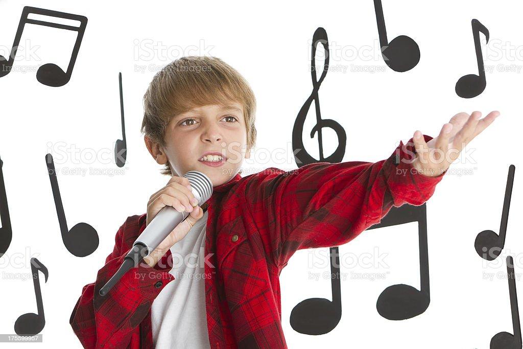Singing funny boy royalty-free stock photo