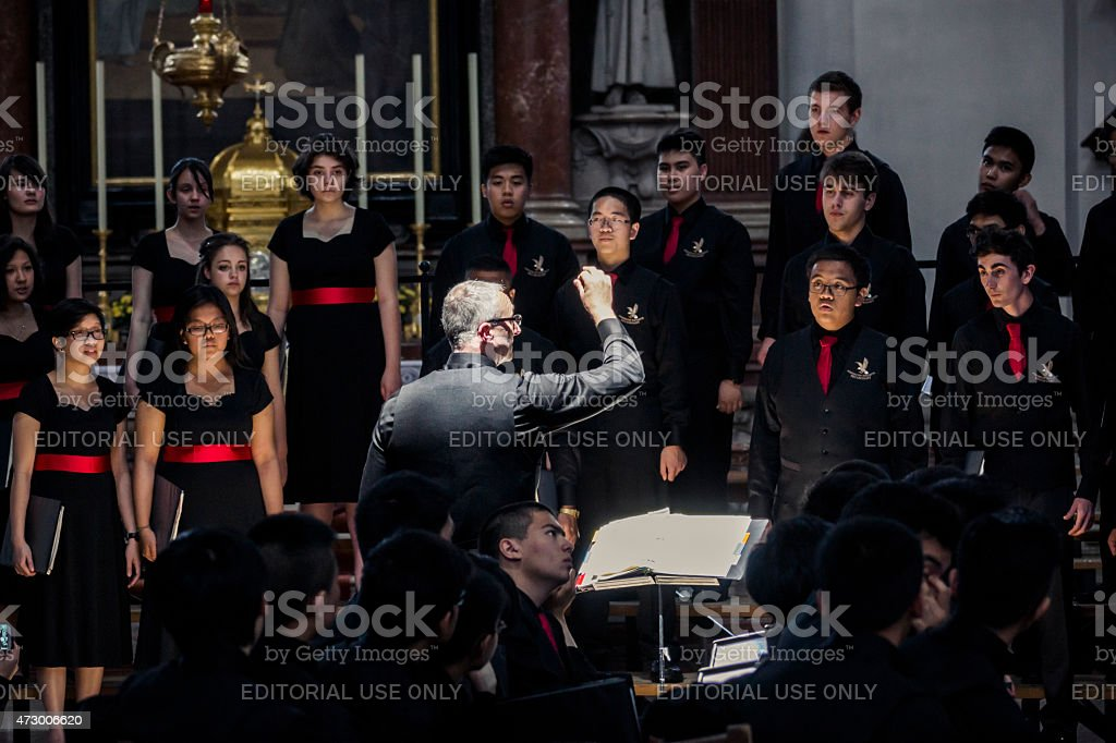 Singing Group Performing in Salzburg Cathedral stock photo
