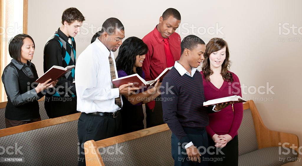 Singing hymns stock photo
