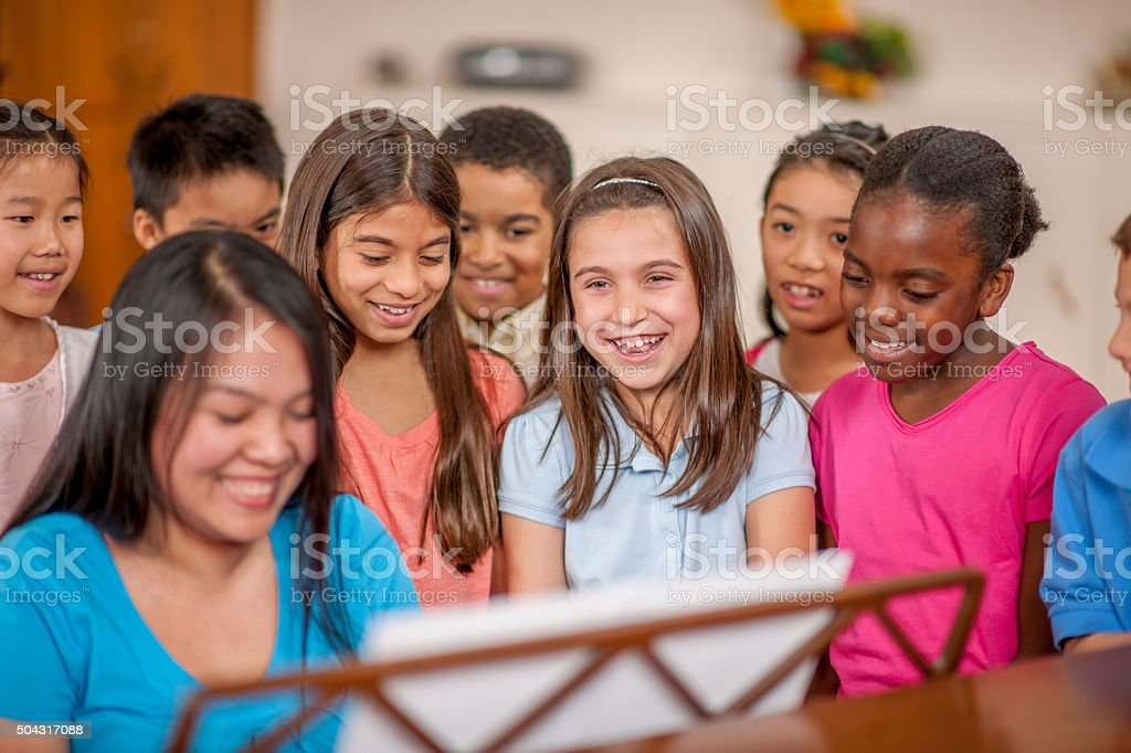 Singing Songs Together in Church stock photo