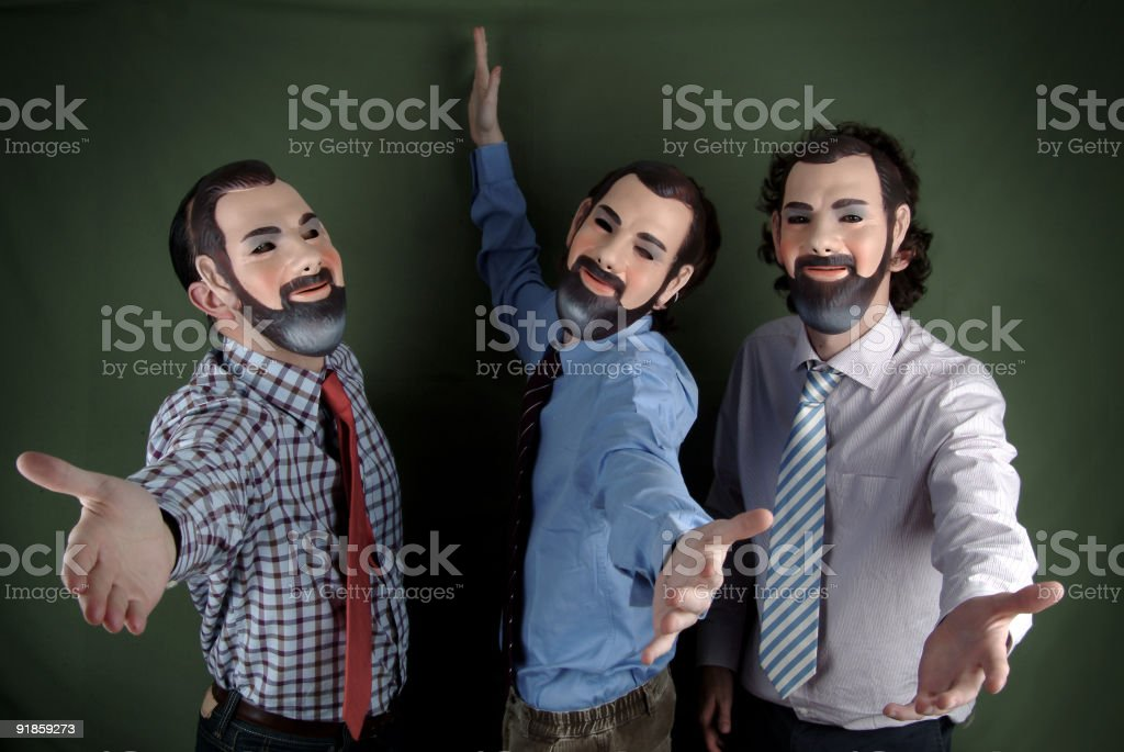 Singing with my clones stock photo