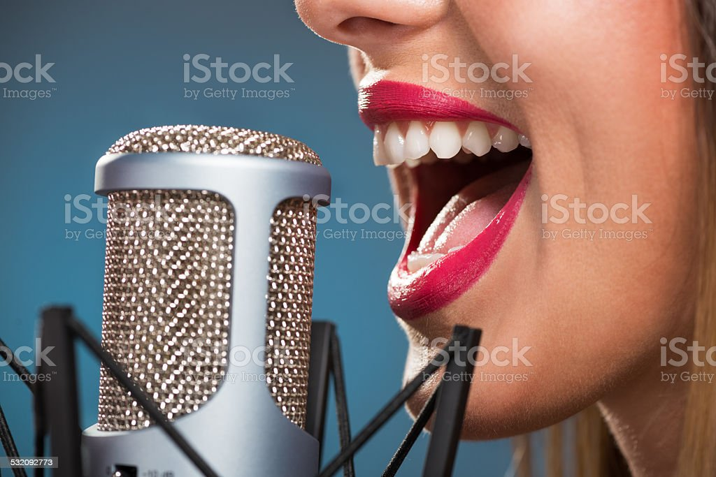 Singing Woman's Mouth stock photo