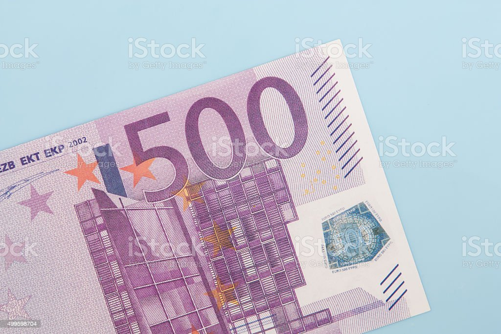 Single 500 euro note stock photo