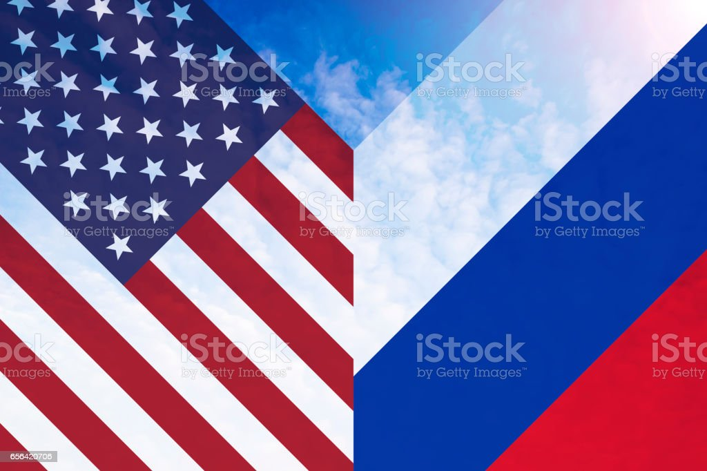 Single American and Russian flag in shape of letter V stock photo