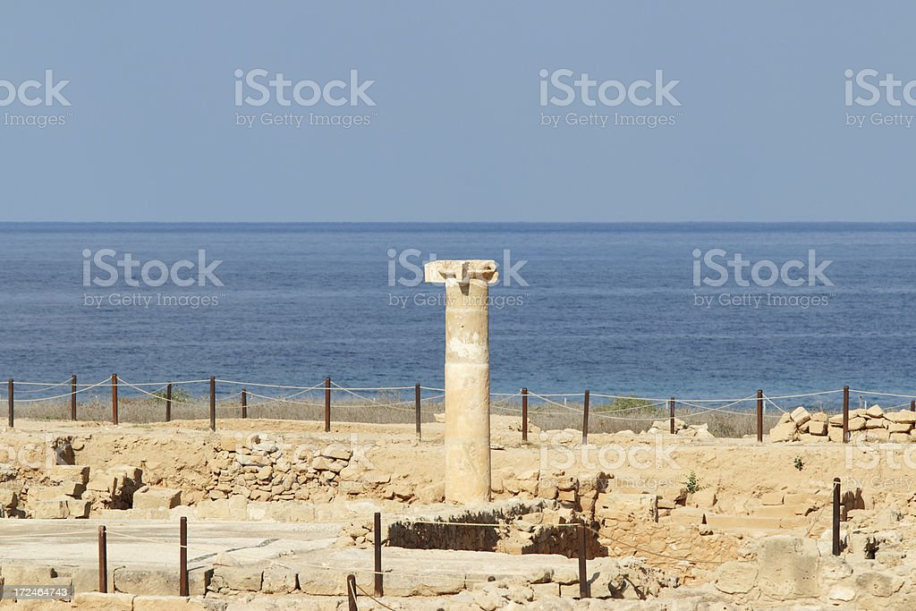 single ancient roman column in Paphos archaeological site Cyprus royalty-free stock photo