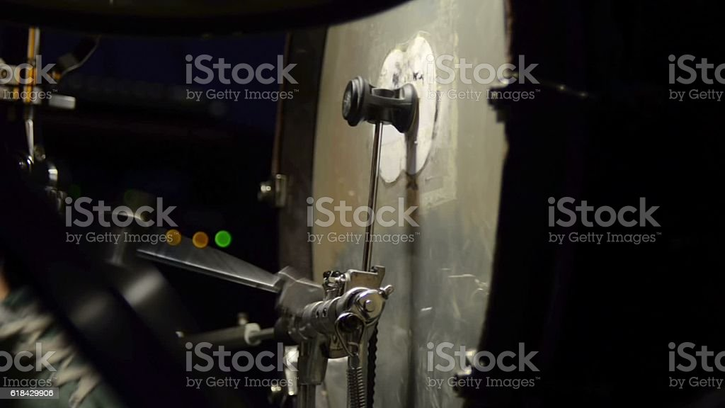 Single and double kicks in the bass drum. Close-up footage stock photo