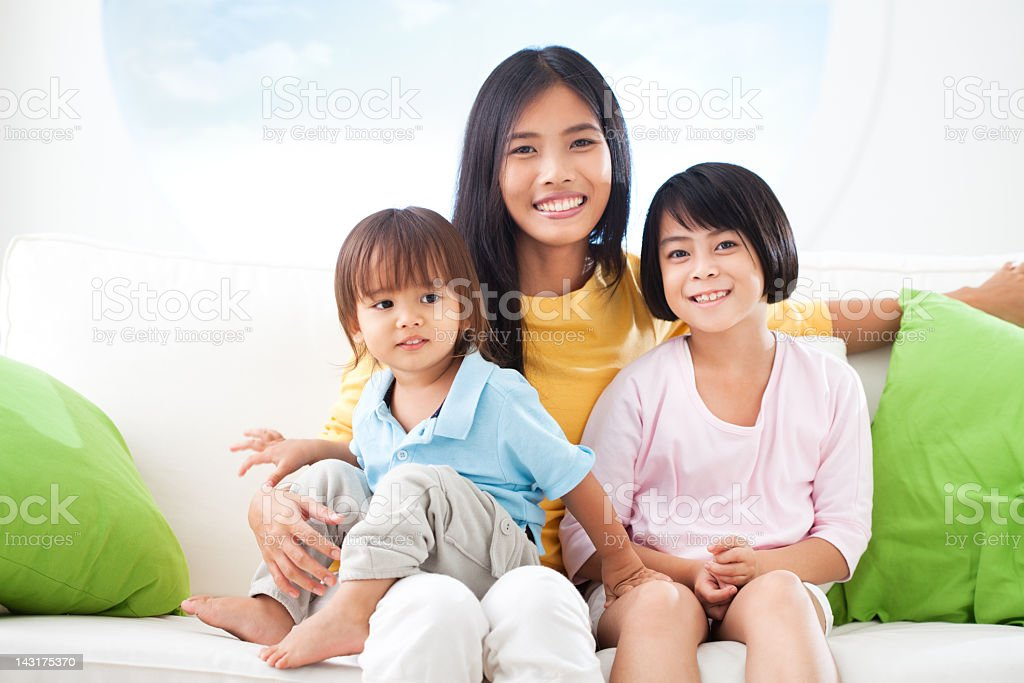 Single Asian Mother With Kids royalty-free stock photo
