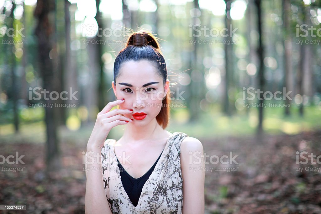 Single asian woman with makeup royalty-free stock photo