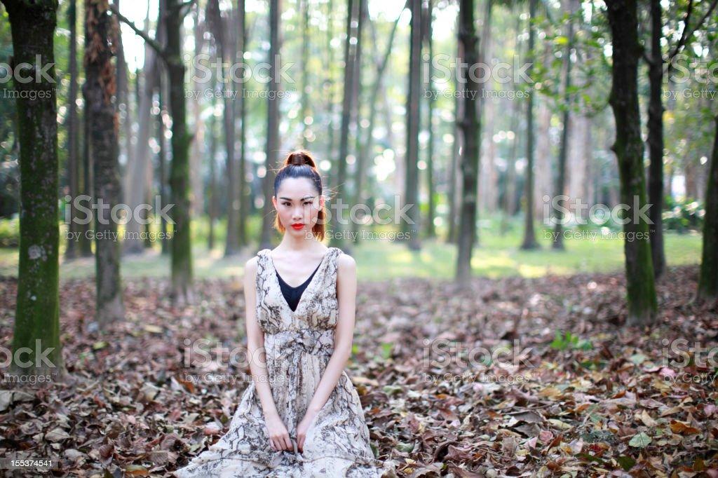 Single asian woman with makeup stock photo