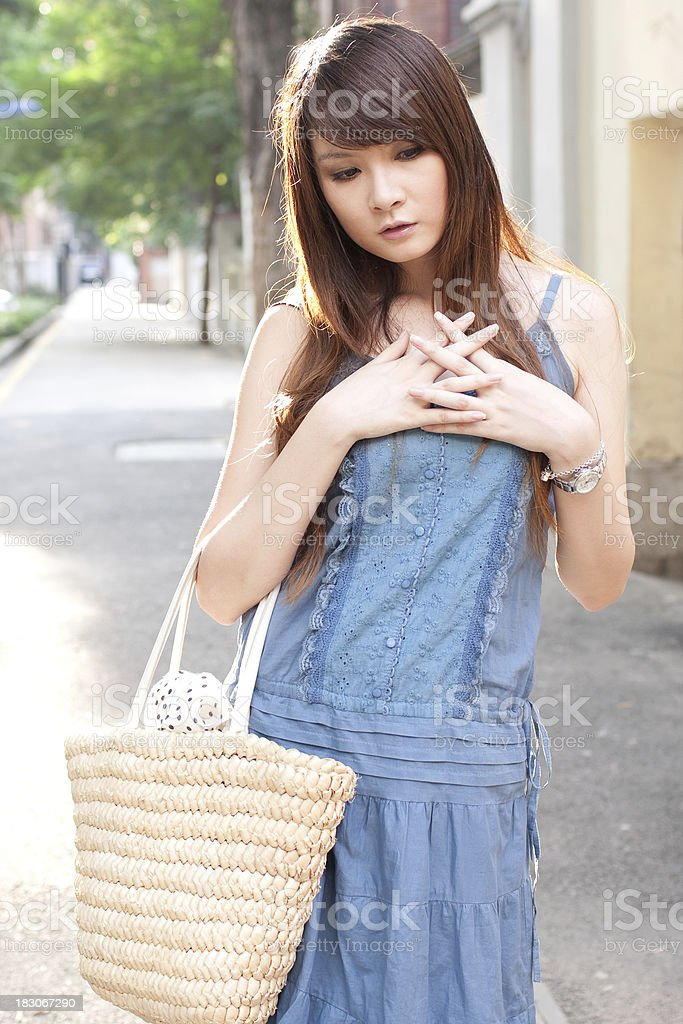 single asian young woman portrait stock photo