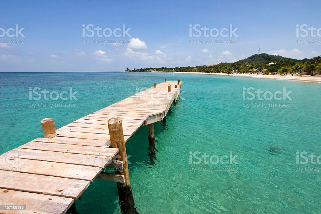 A single beach dock jetting into water royalty-free stock photo