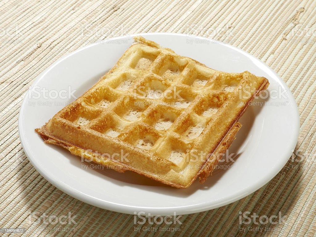 Single belgian waffle on plate royalty-free stock photo