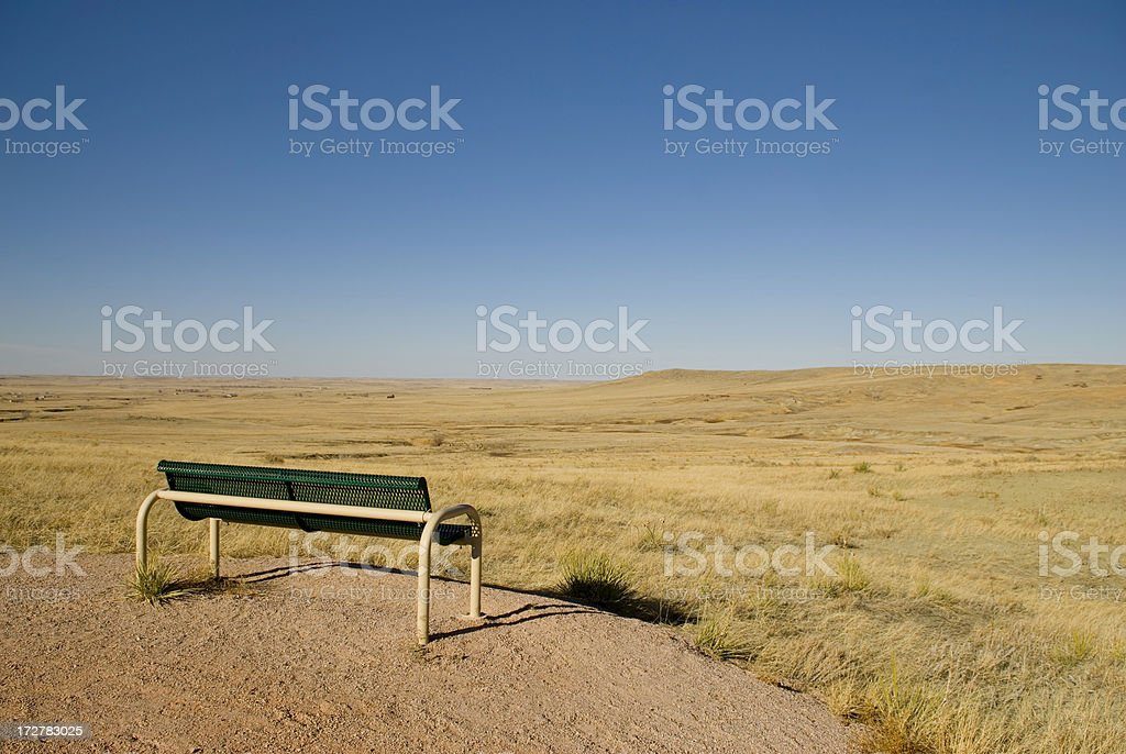 Single Bench in Countryside stock photo