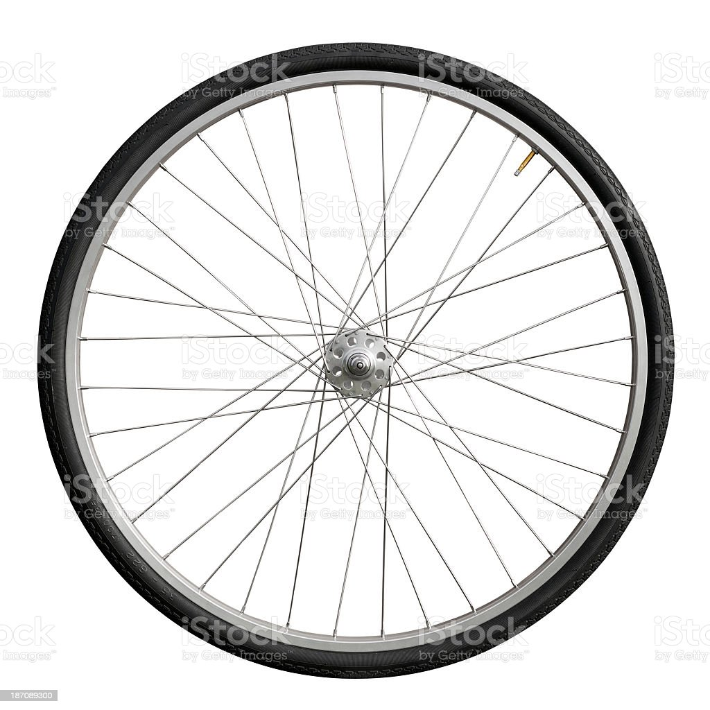 Single bicycle wheel over a white background stock photo