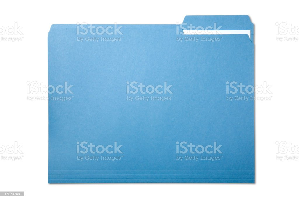 Single blue file folder isolated on white stock photo