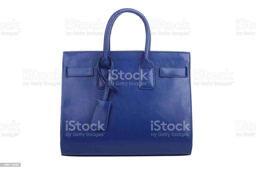 Single blue leather handbag stock photo