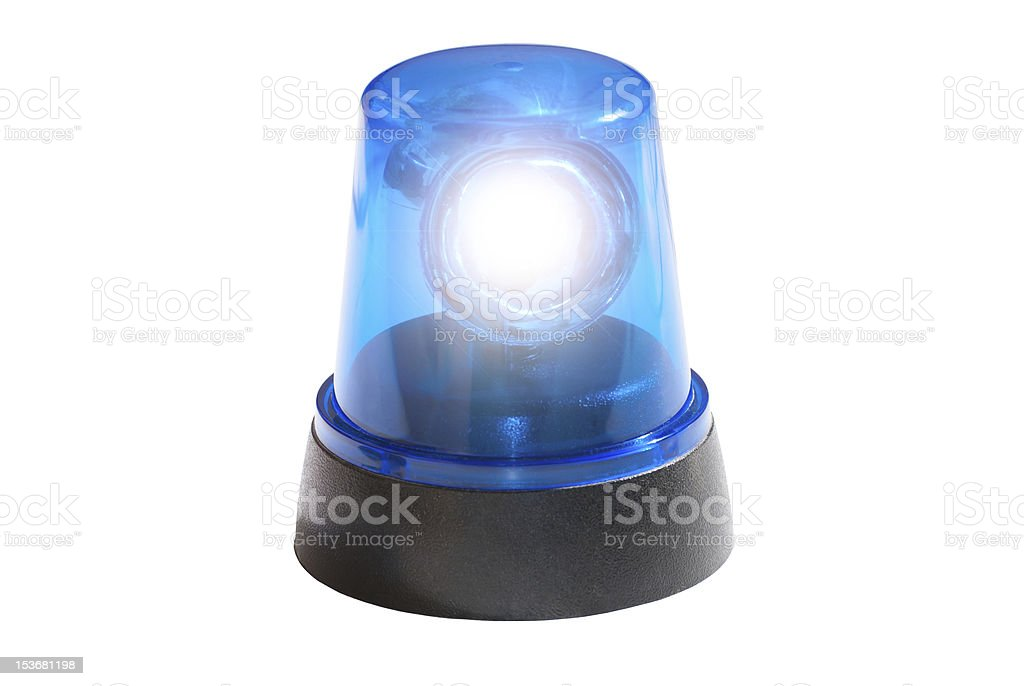 Single blue portable flashing light stock photo