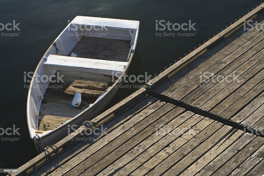 Single Boat at Maine Dock royalty-free stock photo