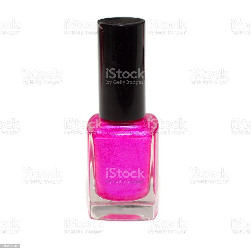 Single Bottle of Fluorescent pink nail polish stock photo