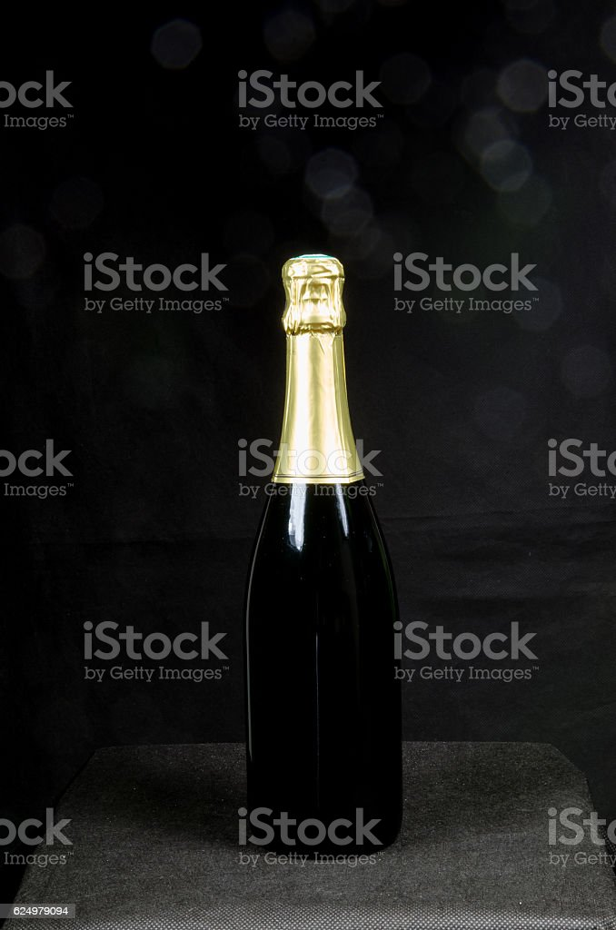 Single bottle of sparkling wine stock photo