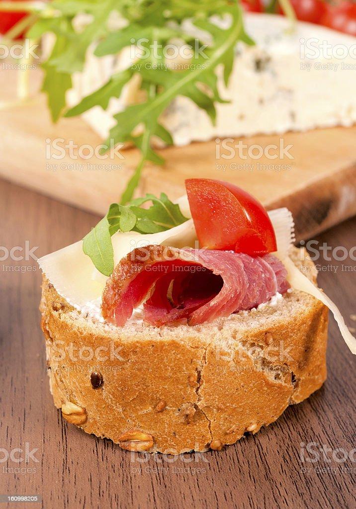 Single bruschetta royalty-free stock photo