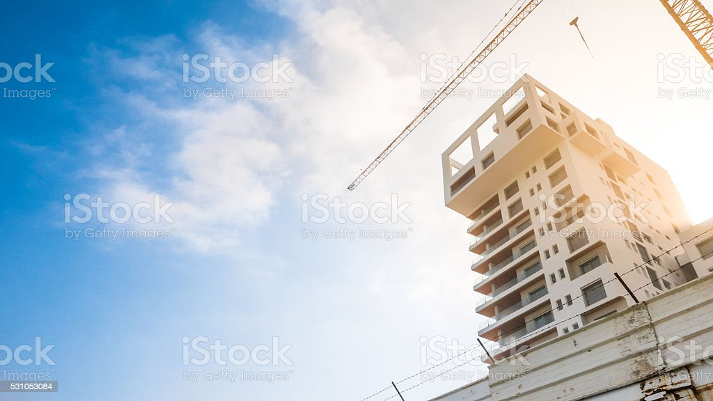 Single Building Being Finished stock photo