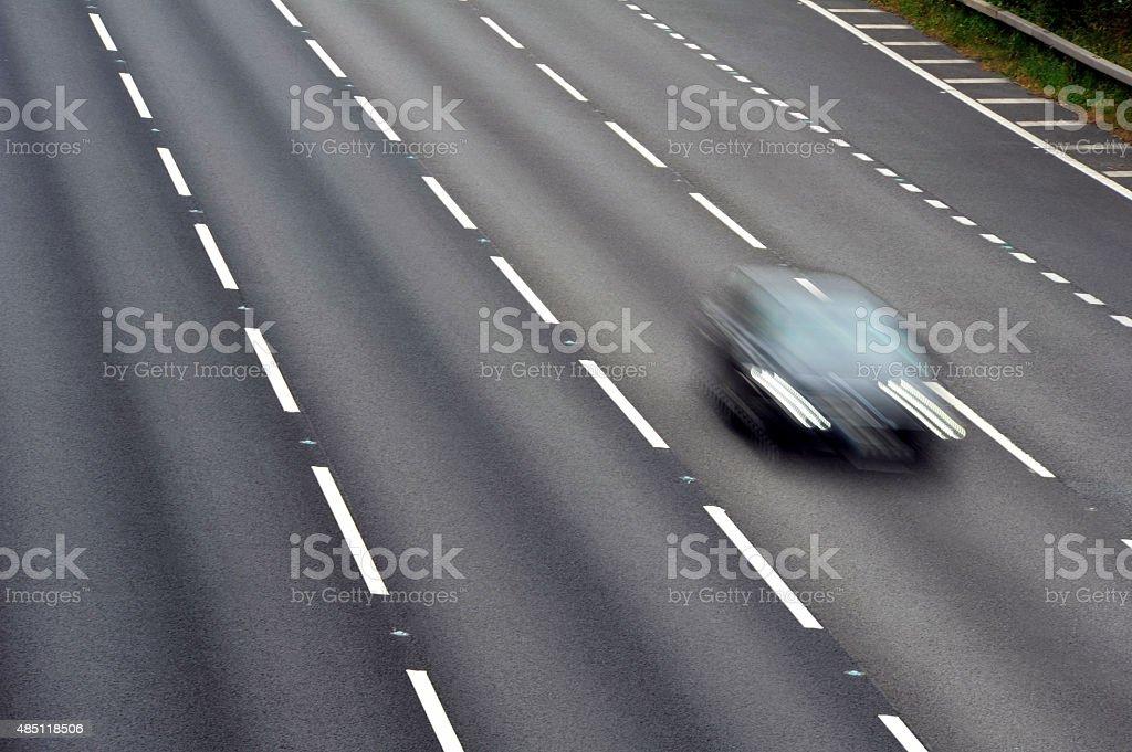 Single Car on the Motorway - Stock Photo stock photo