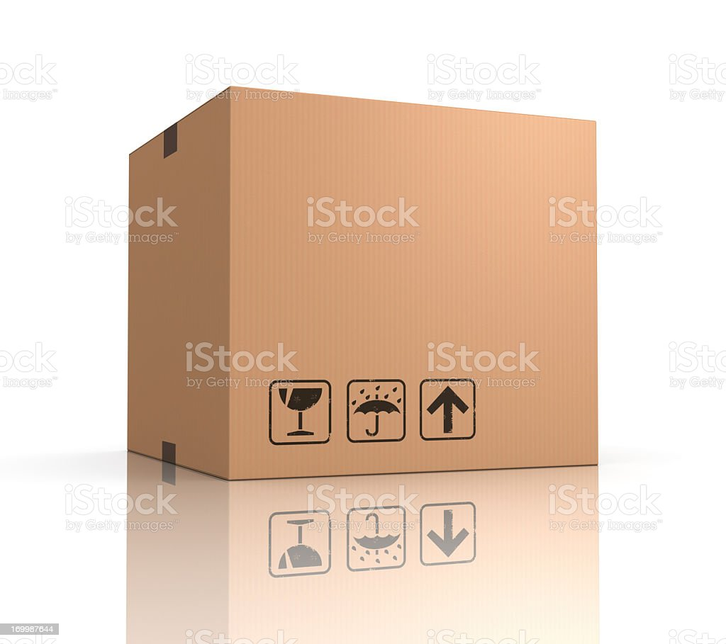 Single cardboard box royalty-free stock photo