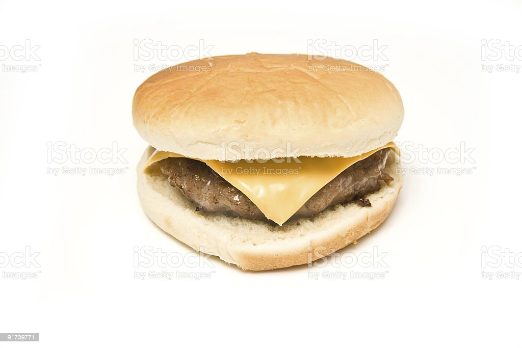Single cheeseburger isolated on a white background stock photo