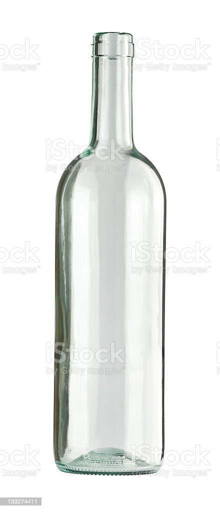 A single, clear glass bottle on a white background stock photo