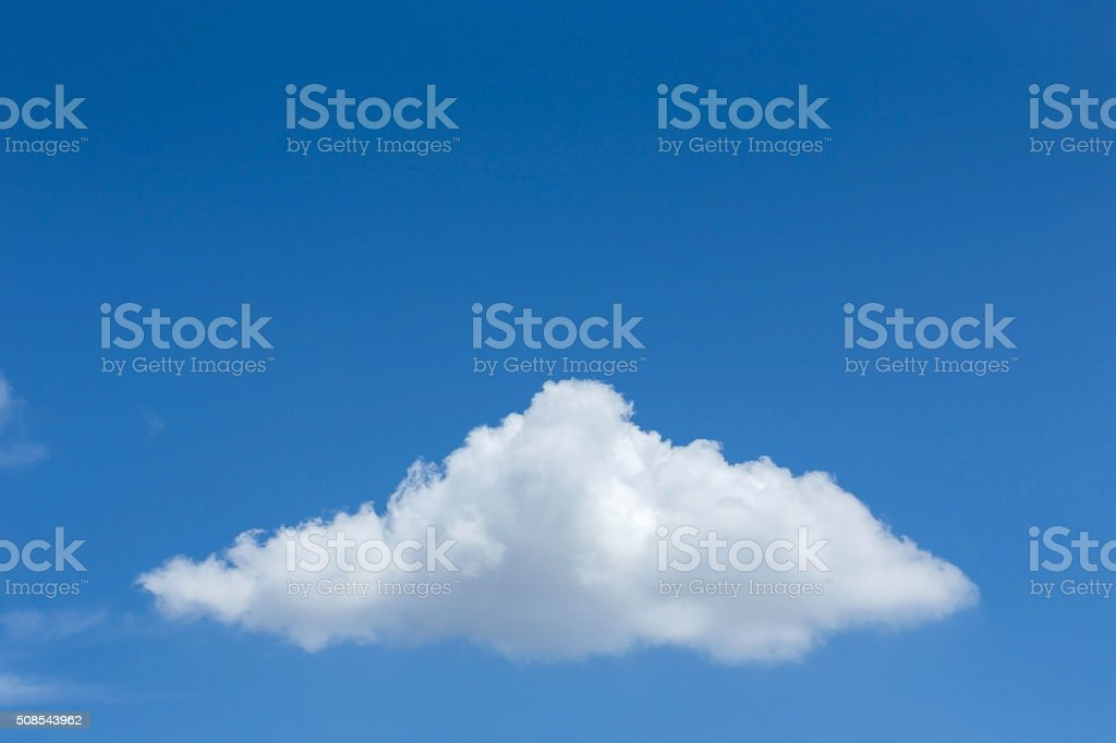 single cloud on clear blue sky background stock photo