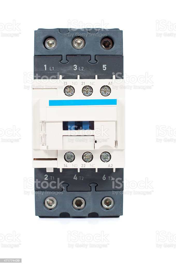 single contactor isolated on white background stock photo