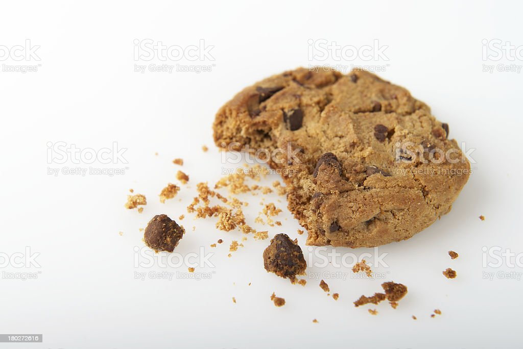 Single Cookie with Bite Isolated on a White Background royalty-free stock photo