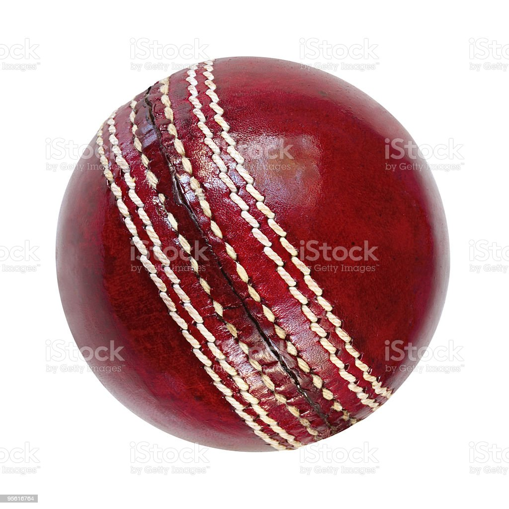 Single cricket ball on white background stock photo