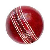 Single cricket ball on white background