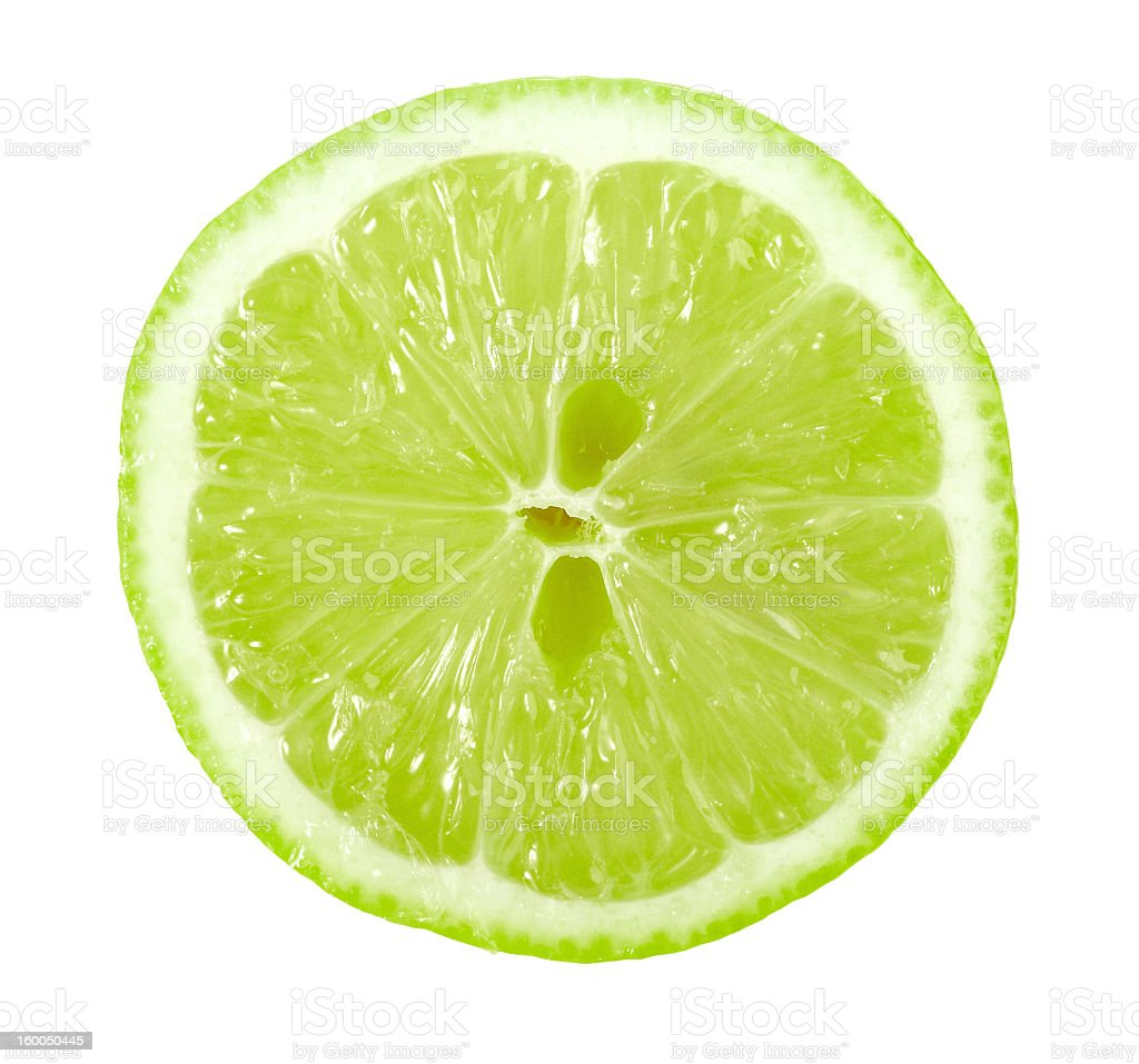 Single cross section of a bright green like on white stock photo