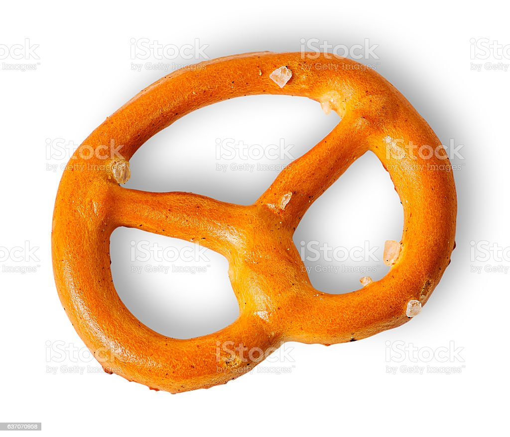 Single crunchy pretzels with salt stock photo