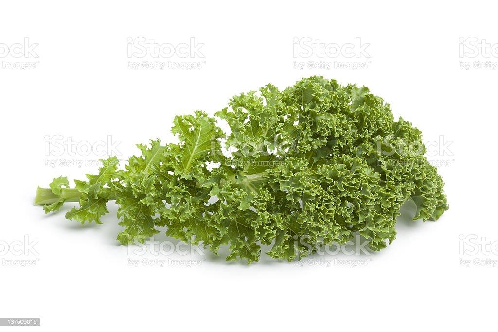 Single curly kale leaf royalty-free stock photo