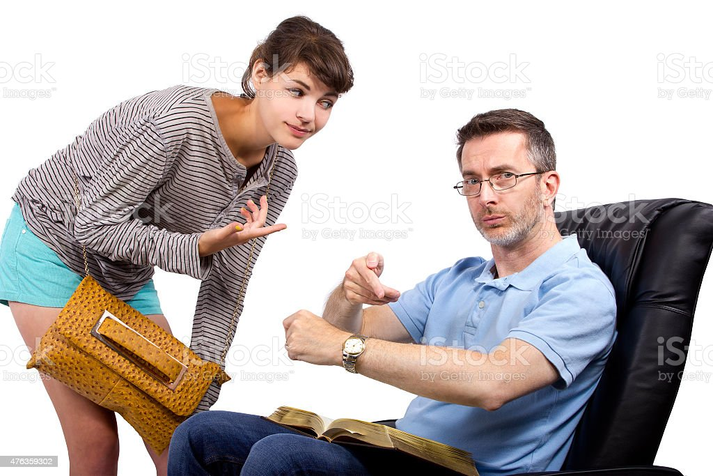 Single Dad Waiting for Daughter stock photo