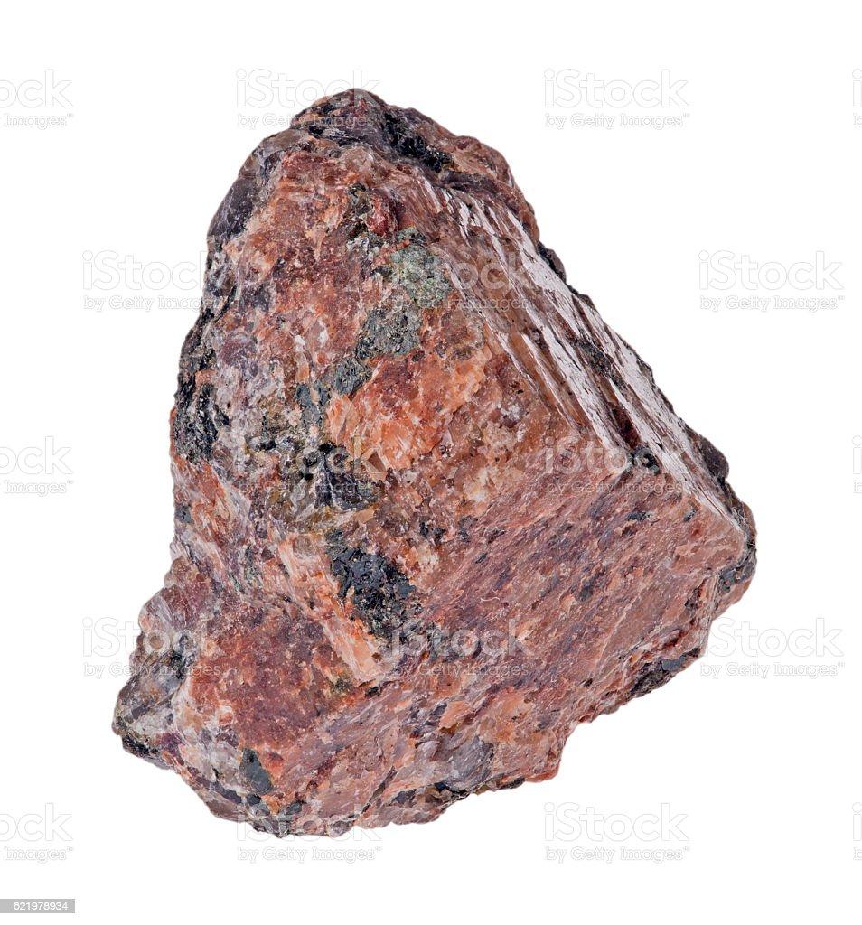 single dark brown granite on white stock photo