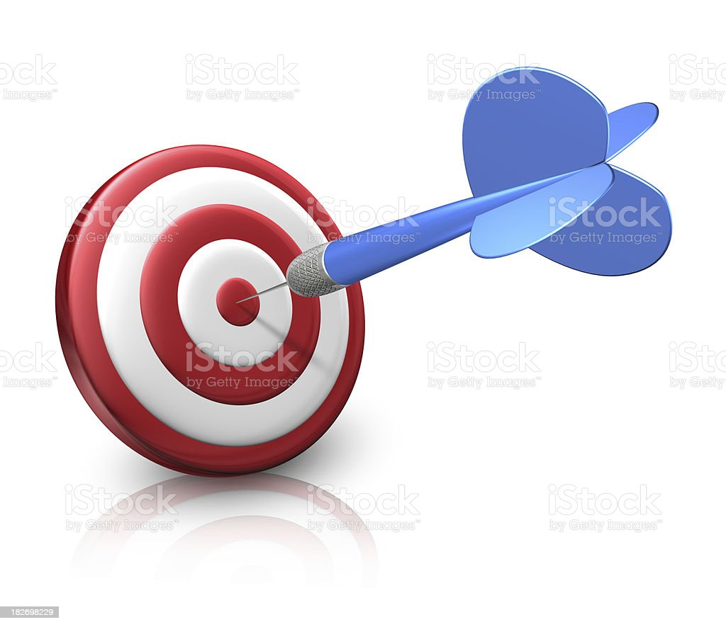 Single dart on small red target royalty-free stock photo