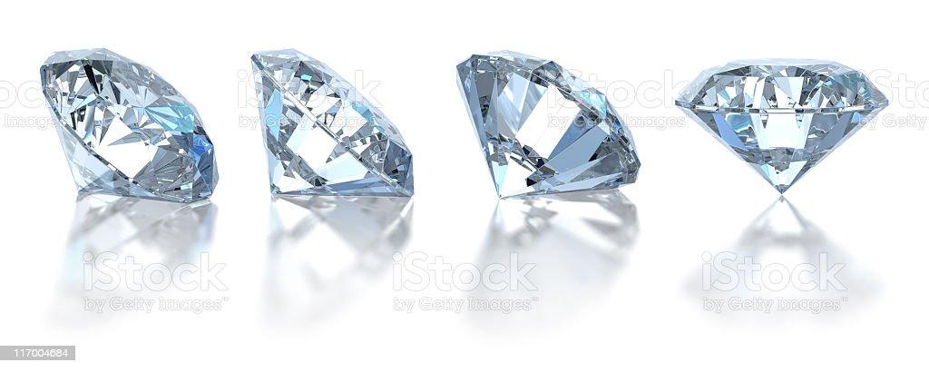 Single diamond. Isolated on white (4 positions) stock photo