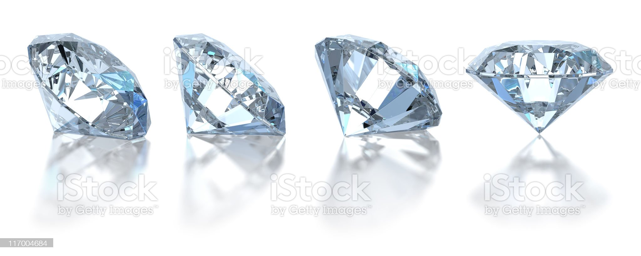 Single diamond. Isolated on white (4 positions) royalty-free stock photo
